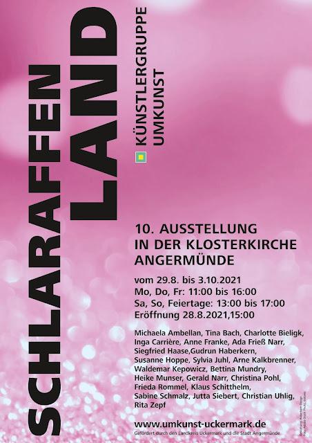 """Plakat Ausstellung """"Schlaraffenland"""" Künstlergruppe umKunst"""